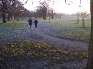 Runners on Clapham Common near Clapham Junction